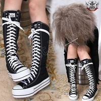 "Japan Punk emo Knee Hi Flat 1.5"" Platform Thick Rubber Sole Canvas Sneaker Boot"