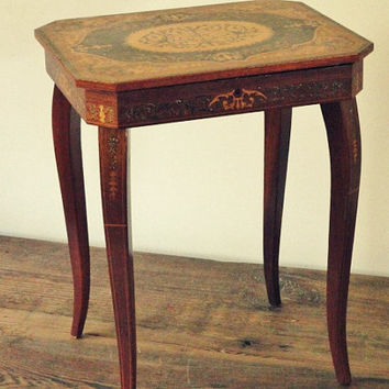 Vintage Table, Inlaid Wood, MusicBox, Jewelry Box