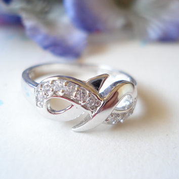 "Engrave any messge, Infinity Ring with CZ, Sterling Silver Custom Ring""  everyday, wedding, best friend, birthday, mother's day gift"