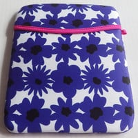 Padded cushioned iPad Protective Cover, cushioned iPad case, Blue flower iPad sleek design case cover
