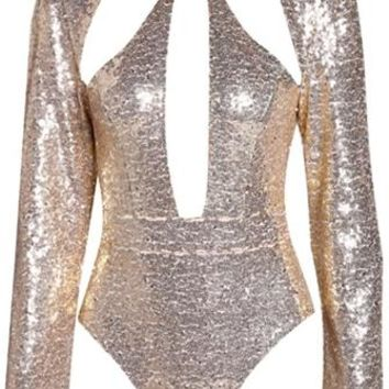 Turning Point Gold Sequin Long Sleeve Mock Neck Cut Out Bodysuit Top
