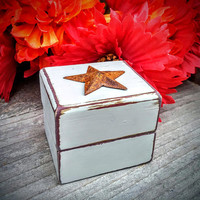 Barn Star Engagement Ring Box - Rustic, Shabby Chic Ring Box - Jewelry Box - Gift Box- Wedding