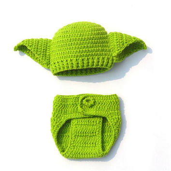 Knit Crochet Star Wars Yoda Baby Hat and Diaper Cover