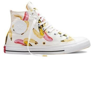 LMFUG7 Converse' Fashion Canvas Flats Sneakers Sport Shoes high tops white print Banana
