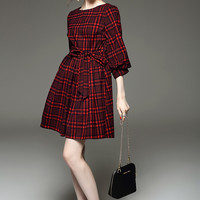 Plaid Mini Dress with Sash