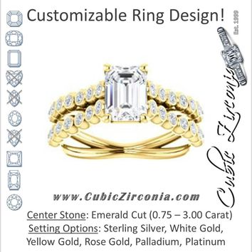 Cubic Zirconia Engagement Ring- The Roxana (Customizable Emerald Cut Design with Beaded-Bezel Round Accents on Wide Split Band)
