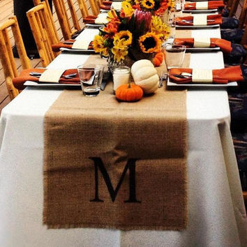 Initial Wedding Table Runners 18 x 120 - Set of 8 - Burlap Table Runners - Wedding Decoration