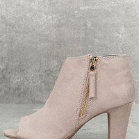 Milla Taupe Suede Peep Toe Ankle Booties