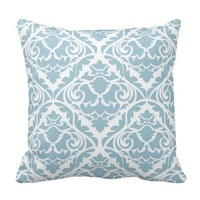 pale blue,damask,trendy,floral,vintage,modern,chic throw pillows