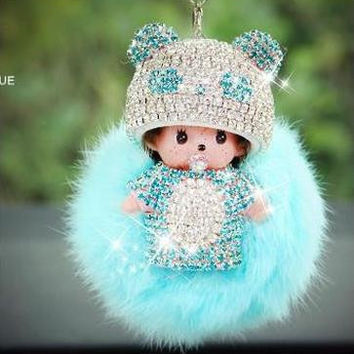 Monchhichi fur ball pompom keychain crystal Monchichi Key Chain Real rabbit fox Fur Pom pom Women Handbag car charm Pendant new