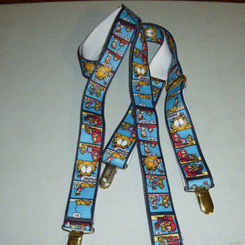 Mens Vintage Garfield Comic Strip Suspenders Paws Pelican USA