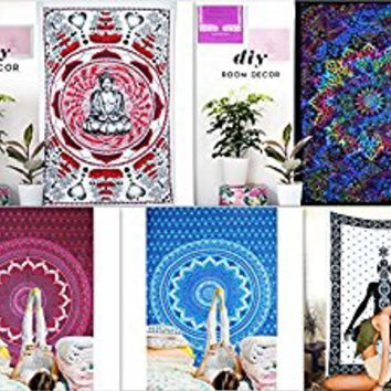 Future Handmade Wholesale 5 Twin Tapestries Pack Mahatma Buddha Tapestry Wholesale Indian Printed Bed Sheet Tapestries Birds Leaves Tapestry Ombre Tapestry Printed With Elephant Bedspread (PACK 2)