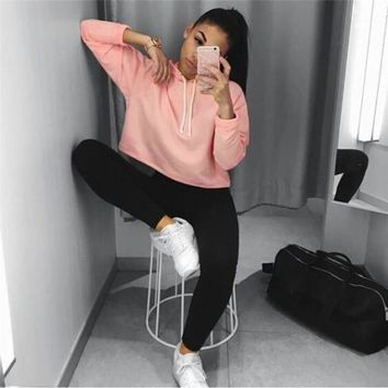 Women Fashion Loose Ladies Hooded Sweatshirt Hoodie Workout Crop Top