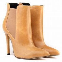 Fashion Retro PU Oil Leather High-heeled Short Boots Women Heels Shoes