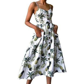 TOOPOOT Wome Summer Dress, Lady Floral Print Strap Casual Button Midi Dress Princess Dress