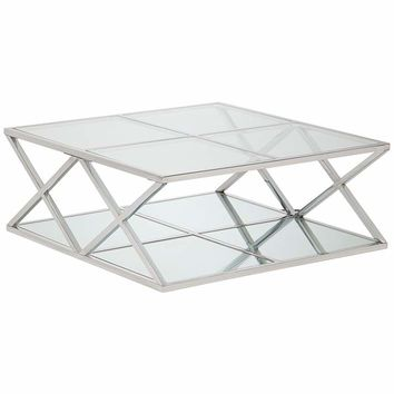 "Skylar 40"" Wide Mirrored and Chrome Modern Coffee Table - #31C59 