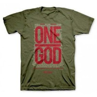 Military Army Green ONE GOD Christian Gear Mens T Tee Shirt Top Size XL
