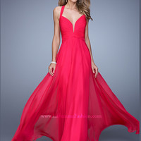 V-neck Flowing A-line La Femme Prom Dress 20995