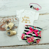 Little Sister outfit   Black and White Stripe and Fuchsia Floral High Waisted Bloomers and Knotted Headband   Gold Little Sister Outfit