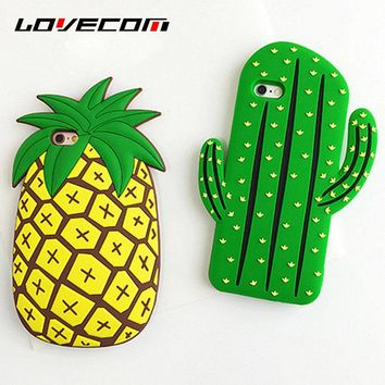 LOVECOM For iPhone 8 Plus Case 3D Yellow Pineapple Green Cactus Soft Silicon Protective Phone Cases For iPhone8 Back Cover Shell