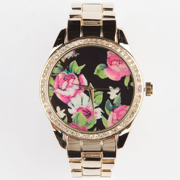 Floral Dial Watch Gold One Size For Women 24026562101
