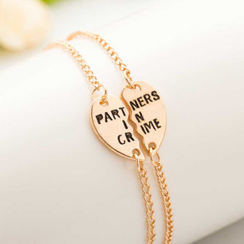 2016 New Hot Europe Style Partners In Crime Letter Hearts Alloy Friendship Bracelets Jewelry Friendship Gifts To Best Friend