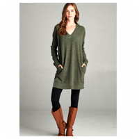 """Style and Flare"" Pocket Detail V Neck Olive or Black Sweater Top"