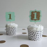 12 Purple, Pink, or Green Glitter Age/Number Cupcake Toppers