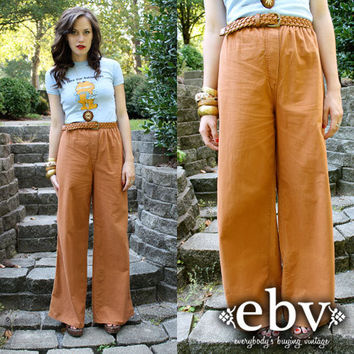 Vintage 70's High Waisted Brown Hippie Boho WIDE LEG by shopEBV