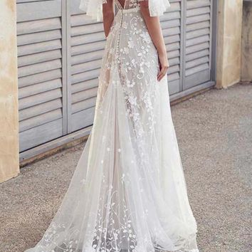 Boho V Neck Lantern Ruffle Sleeve White Lace Wedding Dress