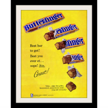 "1960 Butterfinger Candy Ad ""Best Bar"" Vintage Advertisement Print"