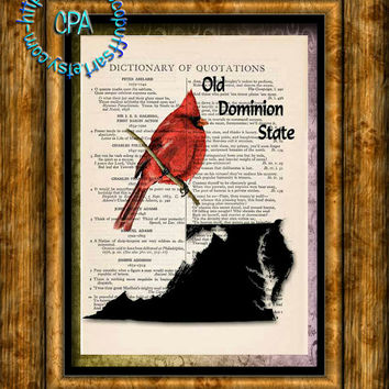 VIRGINIA State Black Silhouette Art, State Bird, State Nickname - Vintage Dictionary Page Art Print Upcycled Page Print