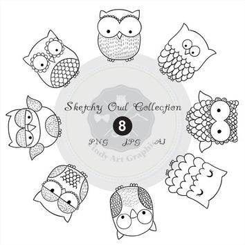 Sketchy Owl Collection_2,owl clipart,owl clipart,digital download-BUY 1 GET 1 FREE! Use Code: 1GET12016