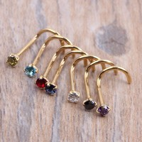 Crysta Gold  Silver Zircon Nose Ring Screw Nose Stud Clear Pink Red Purple CURVED STEEL PIN RING PIERCING 20G 0.8mm
