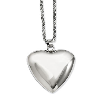 Stainless Steel Polished Puffed Heart Pendant Necklace SRN716
