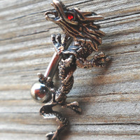 14 Gauge Body Jewelry Oxydized 925 Sterling Silver Dangling Dragon Ring