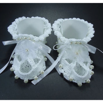 """Crochet Baby shoes, Baby shoes, Custom baby shoes, fashion baby shoes, baby accessories with bead applications - Up to 11 cm (4.3"""")"""
