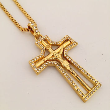 Stylish New Arrival Jewelry Gift Shiny Hip-hop Club Cross Rack Necklace [9095363335]