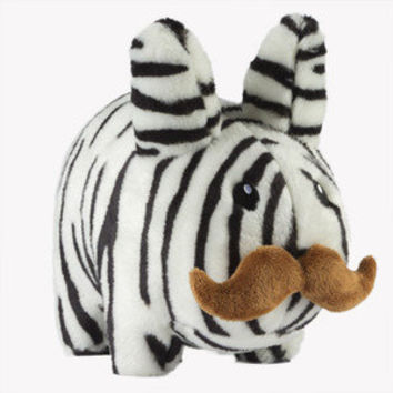 NEW ZEBRA Kidrobot Labbit 14 plush stuffed animal bunny w/ mustache RETAIL $40
