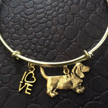 Beagle Dog Charm on a Gold Expandable Bracelet Adjustable Wire Bangle Handmade in America Dog Lover Gift Trendy
