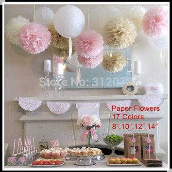 ESBONHS DIY 10 inch 25 cm Decorative Tissue Paper Pom Poms Flower Balls for Birthday Party Supplies Wedding Decorations