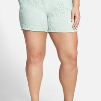 Plus Size Women's JUNAROSE 'Filuca' Laser Cut Shorts,