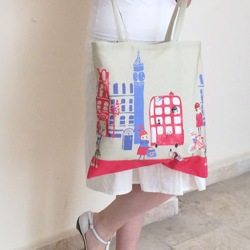 Tote Bag London City Patterned Beige Color Market Bag with Cream Fabric Lining, Shopping Bag, Gift Ideas for Her