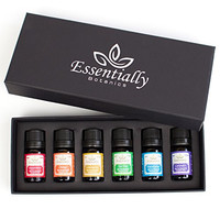 Aromatherapy Essential Oil Sampler Set 100% Pure Undiluted Essential Oils INCLUDES Usage Guide 6/10 Ml Lavender Peppermint Eucalyptus Lemongrass Orange Tea Tree Use in Essential Oil Diffuser