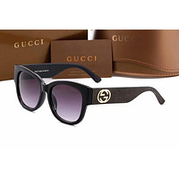 GUCCI Popular Men Women Simple Sunglasses Summer Style Sun Shades Eyeglasses Glasses Sunglasses #1 Black I12938-1