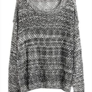 L 073010 Mixed line hollow bat sleeve loose knit sweater from cassie2013