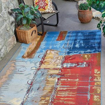 7140 Multi Abstract Outdoor Contemporary Area Rugs