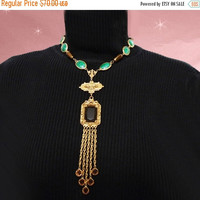 SALE OOAK Statement Necklace - Sautoir Style with DRAMA - Made with Vintage