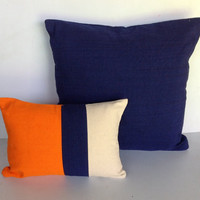Orange Blue and cream Pillows, Lumbar and Square Pillow covers, Gifts, Home Decor-Set of 2 covers
