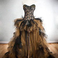 Size Medium Black and Gold lace chain and tulle Burlesque Corset Dress short in the front long train in the back Read To Ship